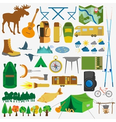 Set camping icon hiking outdoors vector image