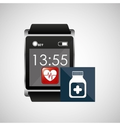 Square smart watch health medication container vector