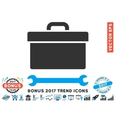 Toolbox Flat Icon With 2017 Bonus Trend vector image vector image