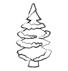 tree pine with snow vector image