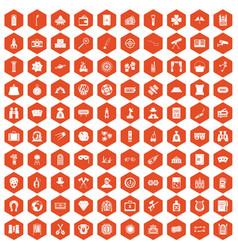 100 adult games icons hexagon orange vector