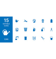 15 can icons vector image