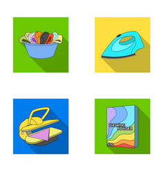 A bowl with laundry iron ironing press washing vector