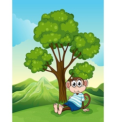 A tired monkey resting under the tree vector