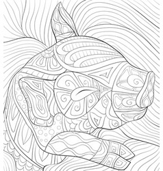 Adult coloring bookpage a cute sleeping pig with vector