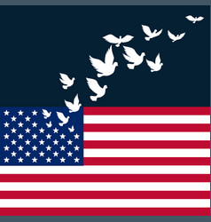 American flag with flying pigeon for vector