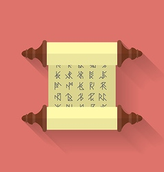 Ancient scroll or parchment with runes icon Flat vector image
