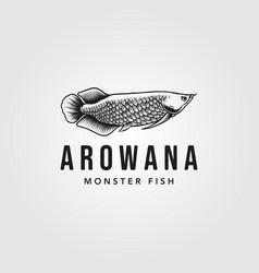 arowana fish logo vintage design vector image