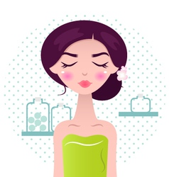Beautiful Spa Women in green towel and bath access vector image