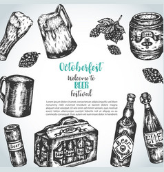 Beer hand drawn background with vector