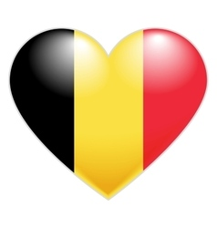 Belgium Flag Heart Belgian flag icon in shape of vector image