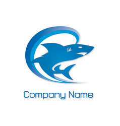 Blue shark logo vector