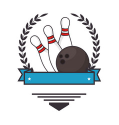 bowling ball and pines sport icon vector image