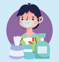 Boy with medical mask and hand sanitizer gel vector