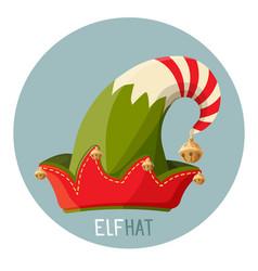 Bright elf hat with small golden bells inside vector