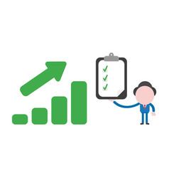 businessman character with sales bar chart moving vector image