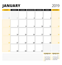 calendar planner for january 2019 stationery vector image