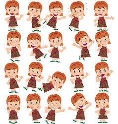 cartoon character girl set with different vector image