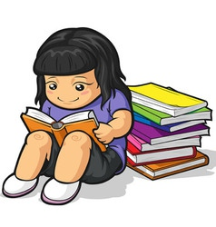 Cartoon of Girl Student Studying Reading Book vector