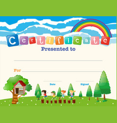 Certificate template with kids in field vector