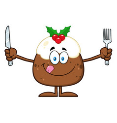 Christmas pudding cartoon character vector