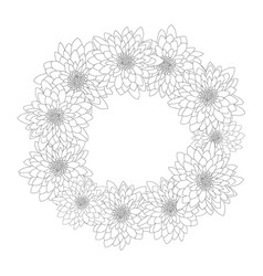 Chrysanthemum outline wreath vector