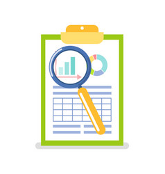 clipboard with data chart under magnifying glass vector image
