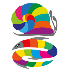 Color wheel fish and snake with shade colors vector
