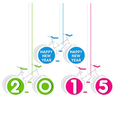 colorful bicycle theem new year 2015 design vector image