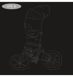 Cool cartoon cyclist on bike with glass vector
