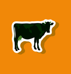 Cow paper sticker on stylish background vector