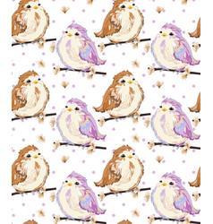 Cute little sparrows pattern vintage retro vector