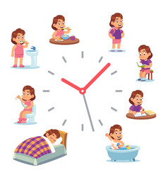 Daily clock for girl routine schedule of vector