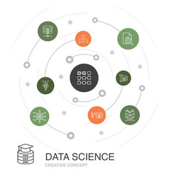 data science colored circle concept with simple vector image