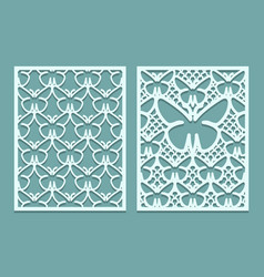 Die and laser cut decorative lace panels patterns vector