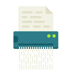 Document shredder flat icon destroy file vector
