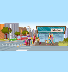 family shopping in city market flat concept vector image