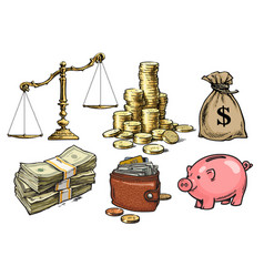 Finance money set scales stack of coins sack vector