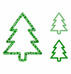 fir-tree composition icon trembly pieces vector image