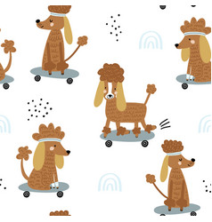 funny poodles on skateboards seamless pattern vector image