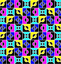 geometric seamless pattern in bright colors vector image