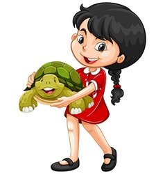 Girl hugging green turtle vector