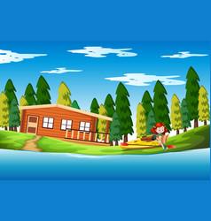 girl on holiday lake house vector image