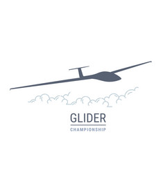 Gliding flight emblem with sailplane soaring vector
