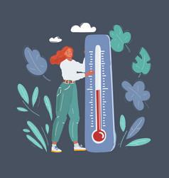 global warming tiny woman vector image