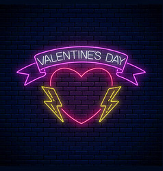 glowing neon valentines day sign with heart shape vector image