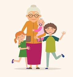 Grandmother with her grandchildren vector image