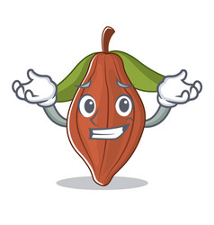 Grinning cacao bean character cartoon vector