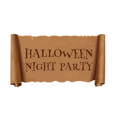 halloween night party - text on scroll ribbon vector image
