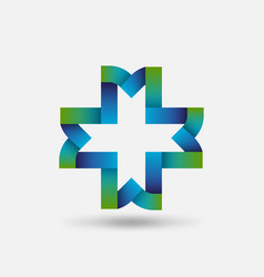 healthy care symbol cross intertwined ribbons vector image